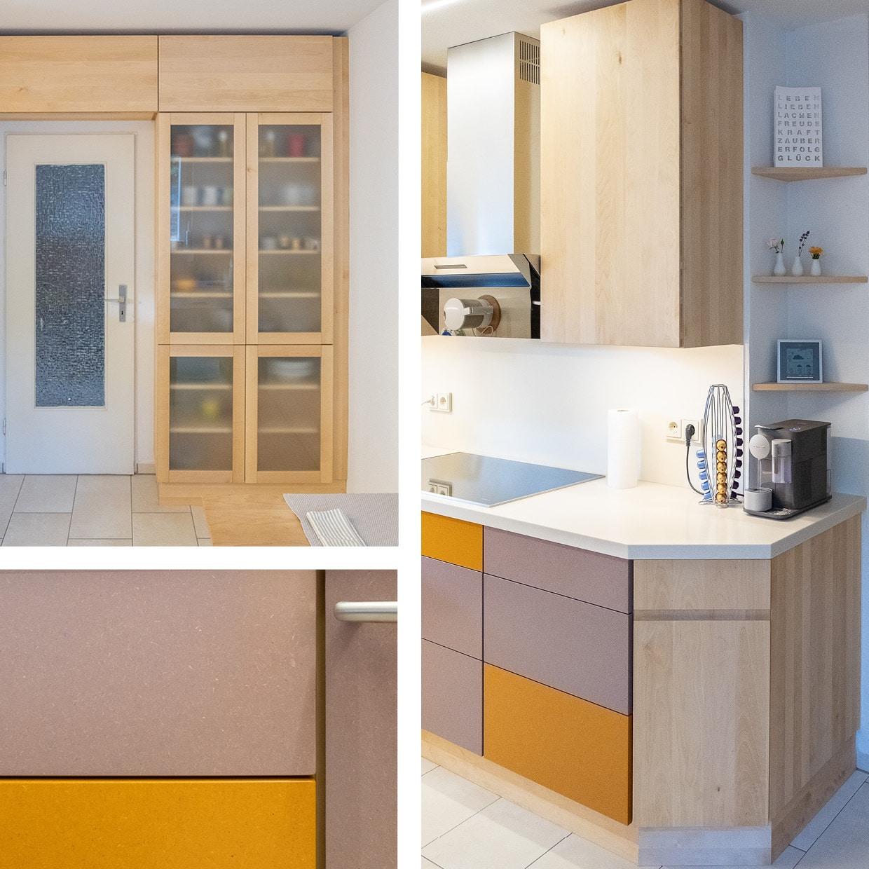 Küche aus Birkenholz, colored MDF und Mineralwerkstoff