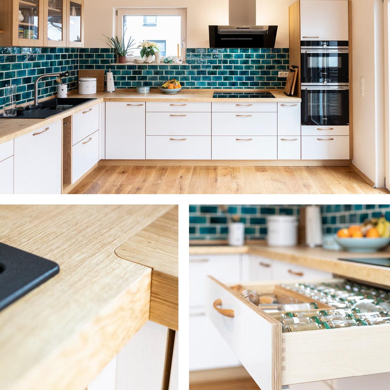 Eiche-Küche mit lasierten Multiplex-Fronten