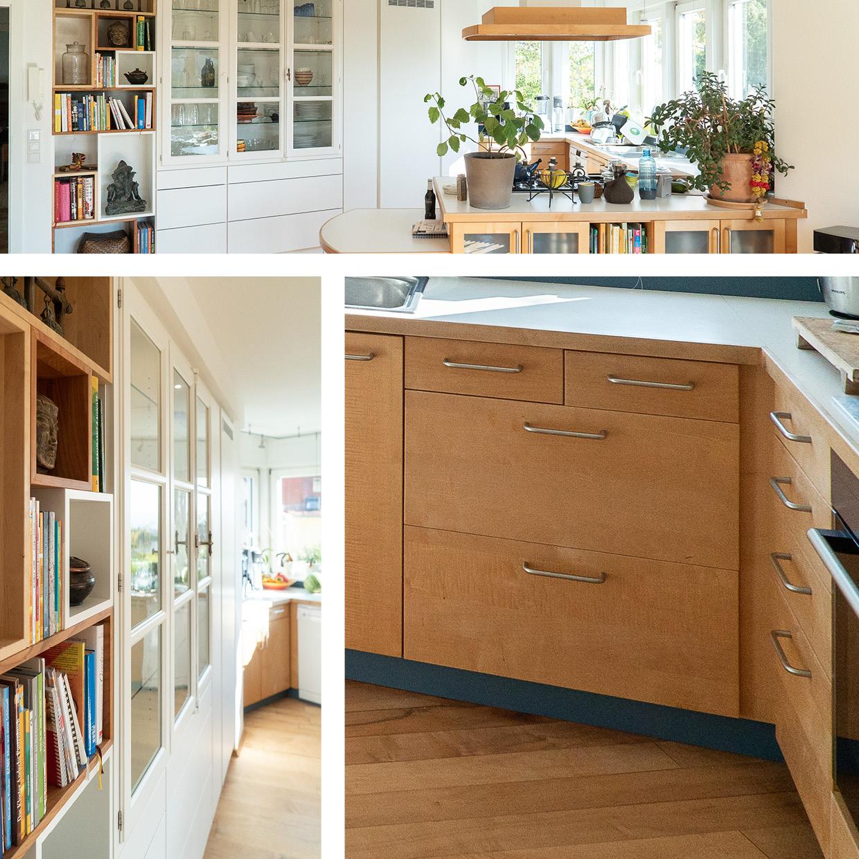 Wohnküche Ahorn und Materialmix