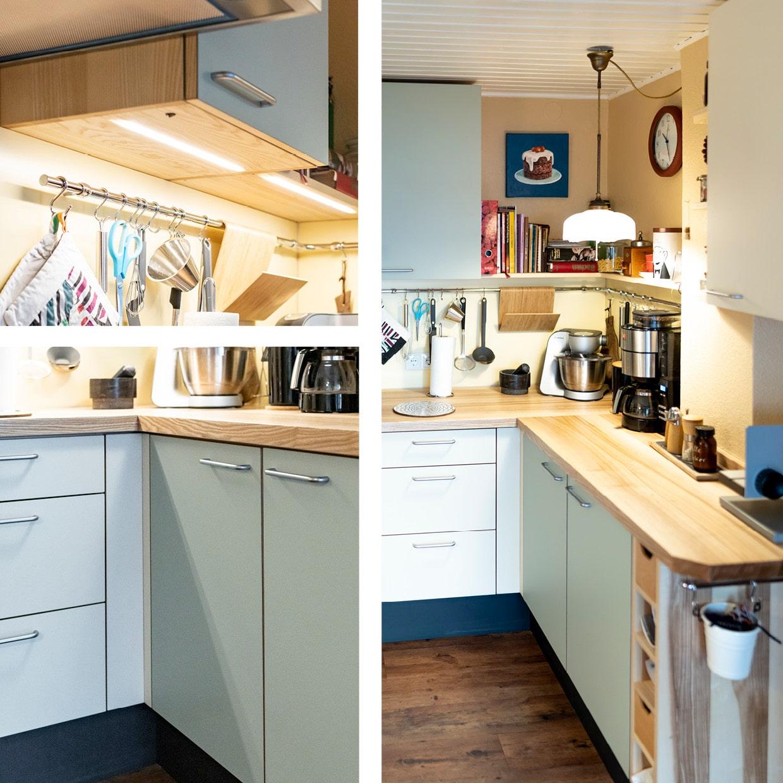 Küchen-Modernisierung mit Kernesche und Linoleum