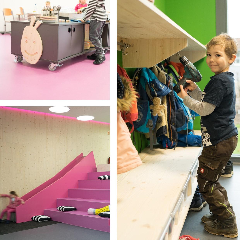 KiTa Kinzenbach – Garderoben, Wandverkleidung, Einrichtung